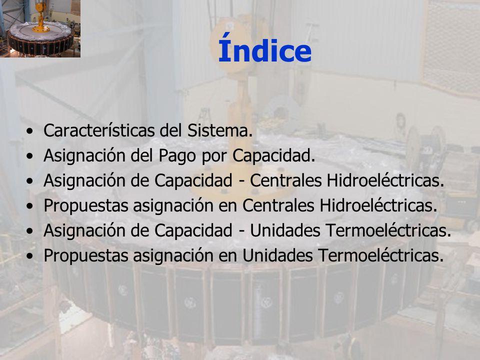 Índice Características del Sistema. Asignación del Pago por Capacidad.