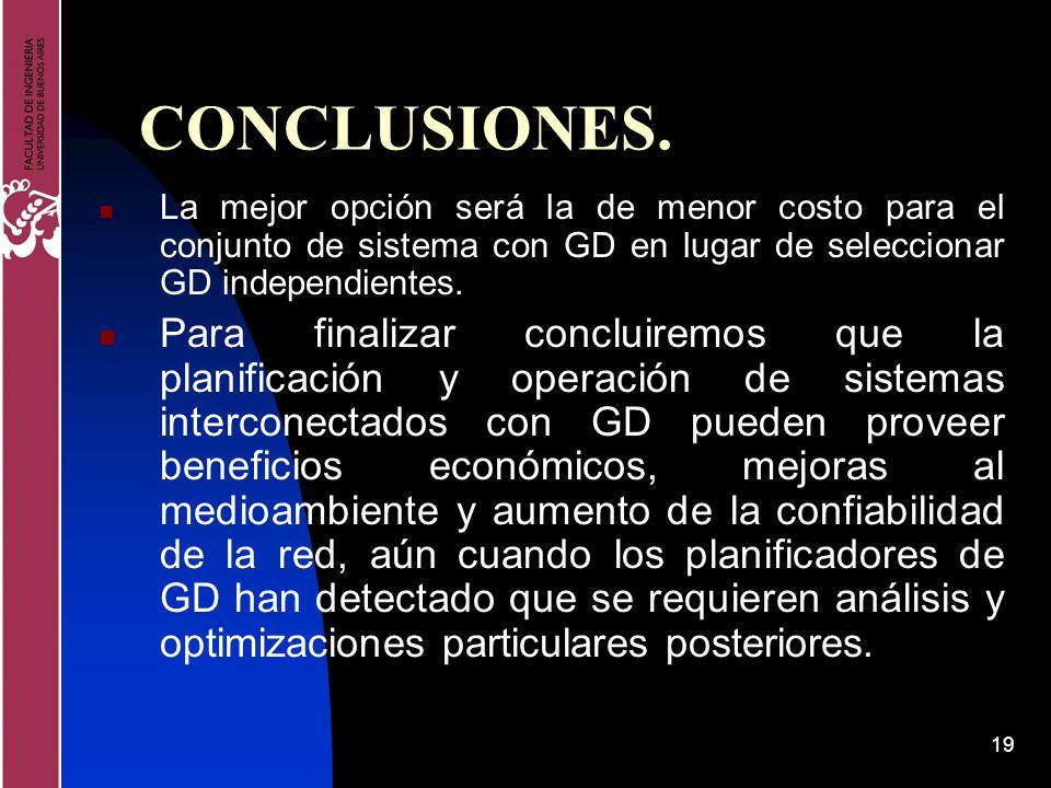 CONCLUSIONES. La mejor opción será la de menor costo para el conjunto de sistema con GD en lugar de seleccionar GD independientes.
