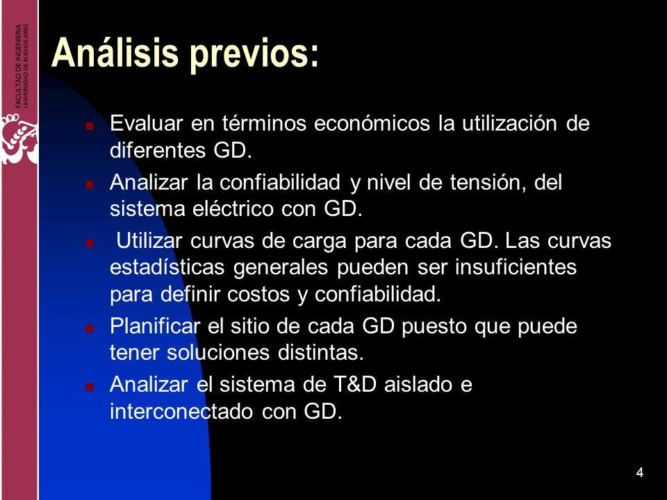 Análisis previos: Evaluar en términos económicos la utilización de diferentes GD.