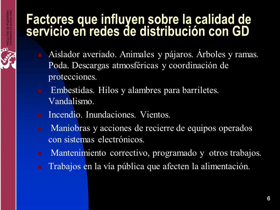 Factores que influyen sobre la calidad de servicio en redes de distribución con GD
