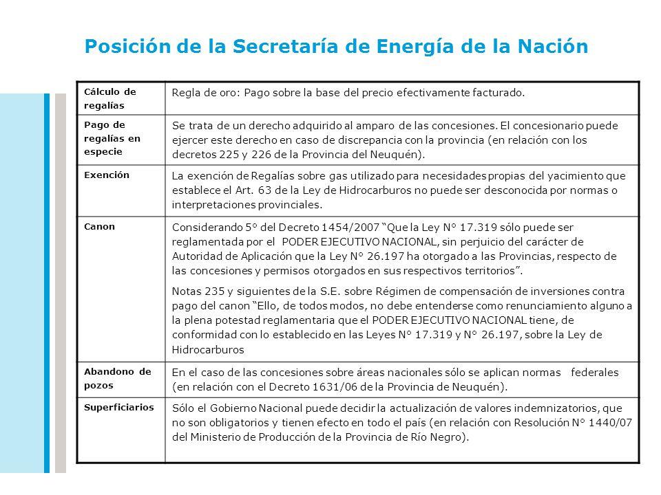 Posición de la Secretaría de Energía de la Nación