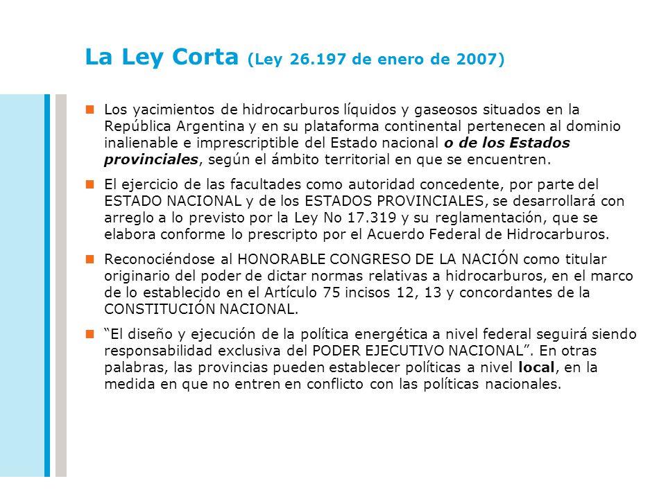 La Ley Corta (Ley 26.197 de enero de 2007)