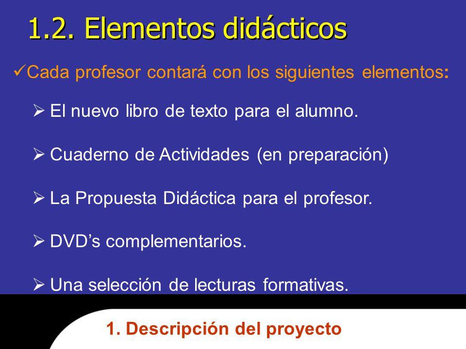 1.2. Elementos didácticos Cada profesor contará con los siguientes elementos: El nuevo libro de texto para el alumno.