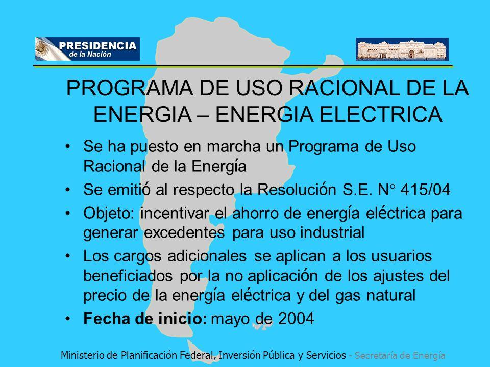 PROGRAMA DE USO RACIONAL DE LA ENERGIA – ENERGIA ELECTRICA