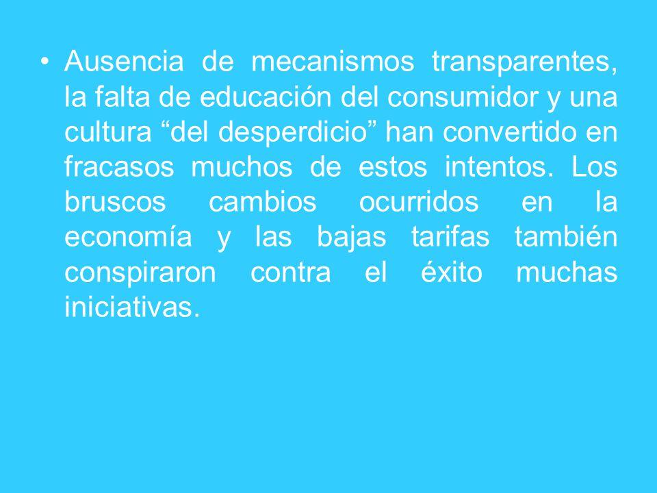 Ausencia de mecanismos transparentes, la falta de educación del consumidor y una cultura del desperdicio han convertido en fracasos muchos de estos intentos.