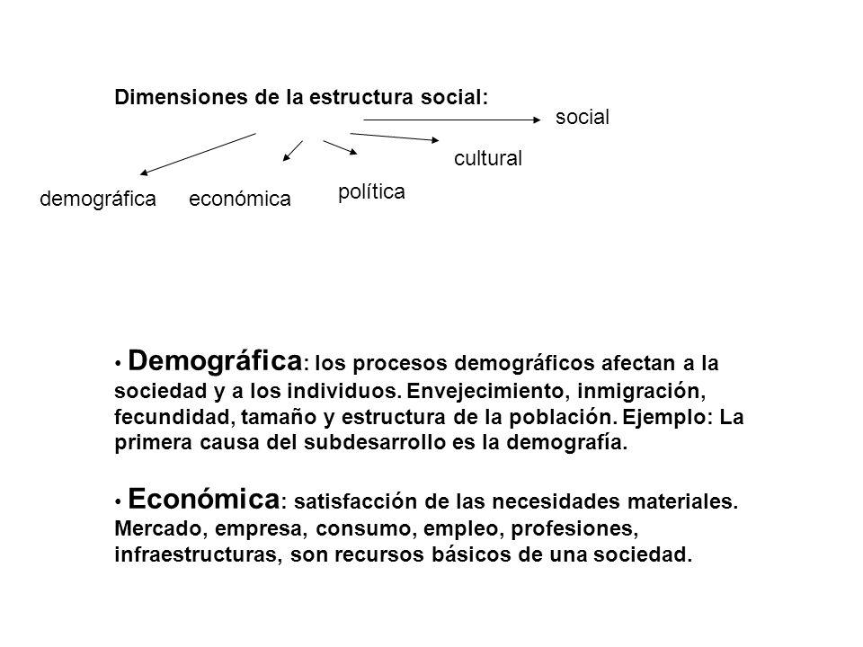 Dimensiones de la estructura social: