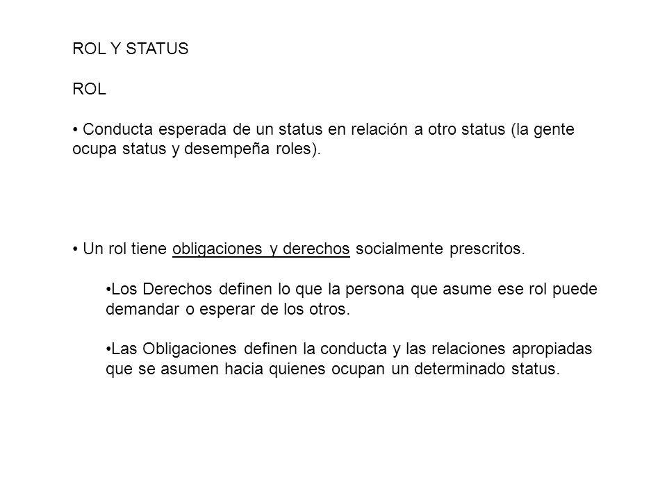 ROL Y STATUS ROL. Conducta esperada de un status en relación a otro status (la gente. ocupa status y desempeña roles).