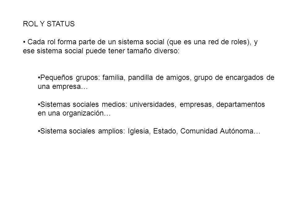ROL Y STATUS Cada rol forma parte de un sistema social (que es una red de roles), y. ese sistema social puede tener tamaño diverso: