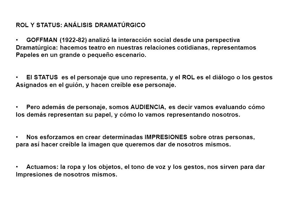 ROL Y STATUS: ANÁLISIS DRAMATÚRGICO