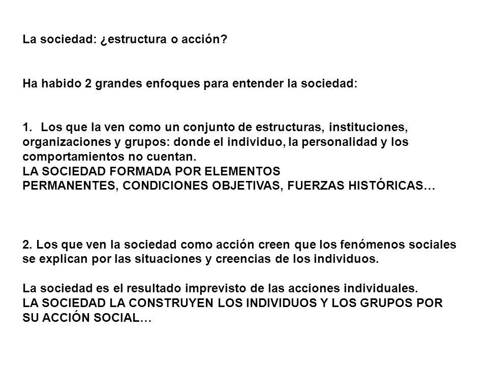 La sociedad: ¿estructura o acción