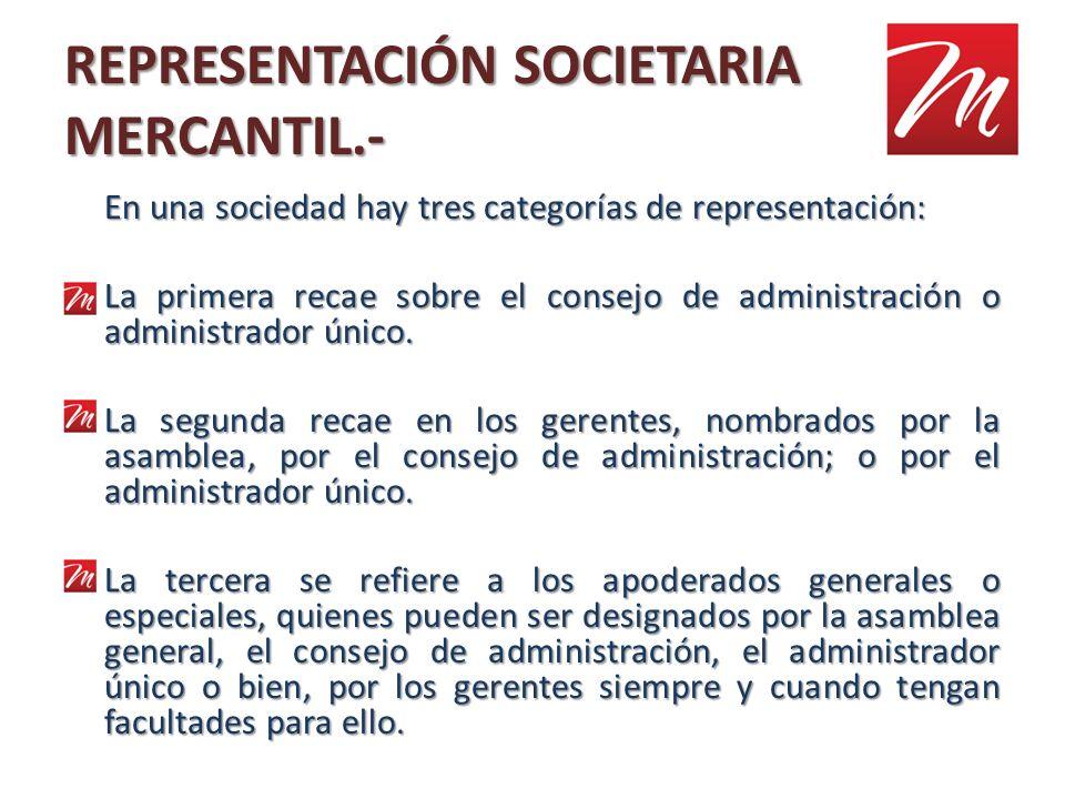 REPRESENTACIÓN SOCIETARIA MERCANTIL.-
