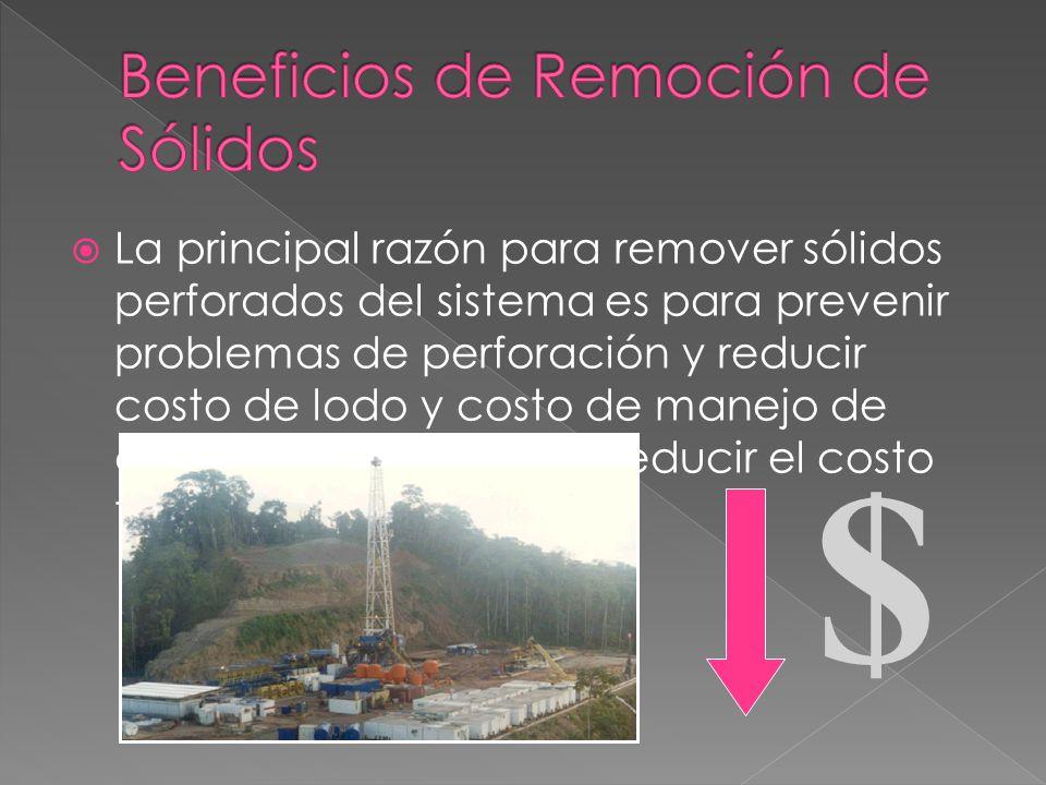 Beneficios de Remoción de Sólidos