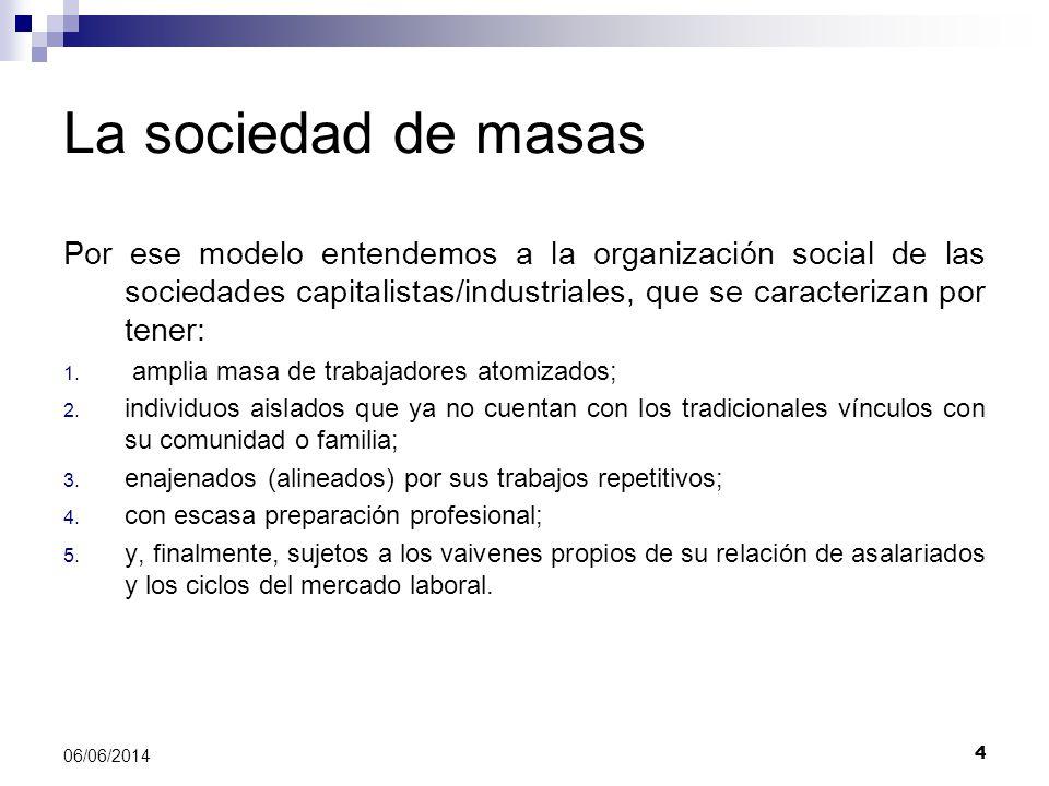 La sociedad de masas Por ese modelo entendemos a la organización social de las sociedades capitalistas/industriales, que se caracterizan por tener: