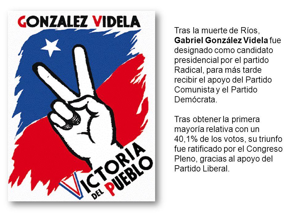 Tras la muerte de Ríos, Gabriel González Videla fue designado como candidato presidencial por el partido Radical, para más tarde recibir el apoyo del Partido Comunista y el Partido Demócrata.