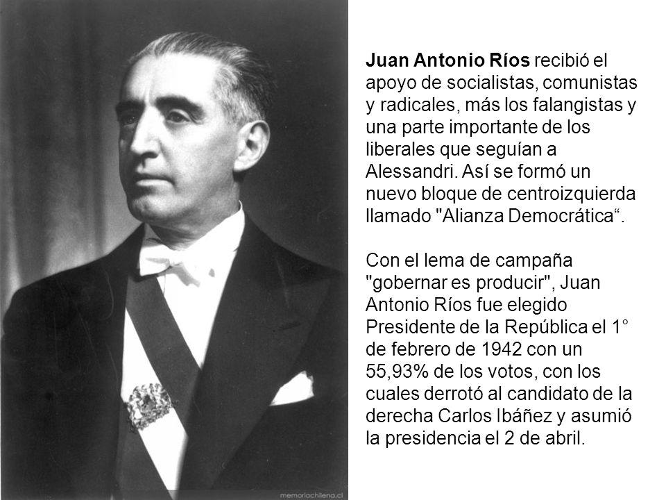 Juan Antonio Ríos recibió el apoyo de socialistas, comunistas y radicales, más los falangistas y una parte importante de los liberales que seguían a Alessandri. Así se formó un nuevo bloque de centroizquierda llamado Alianza Democrática .