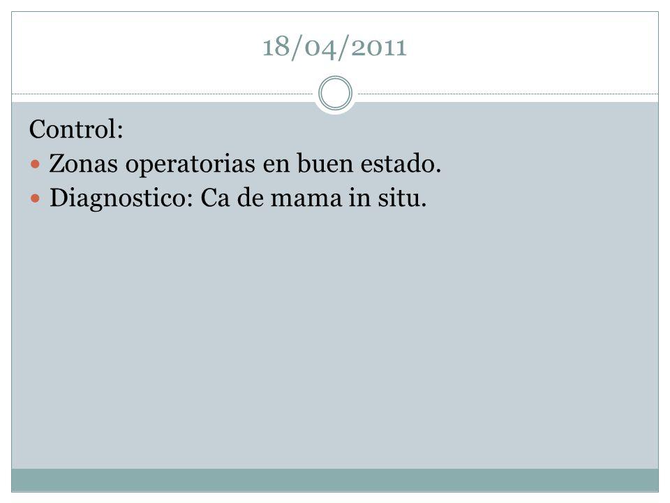 18/04/2011 Control: Zonas operatorias en buen estado.