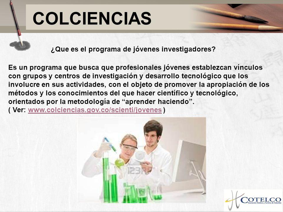 COLCIENCIAS ¿Que es el programa de jóvenes investigadores