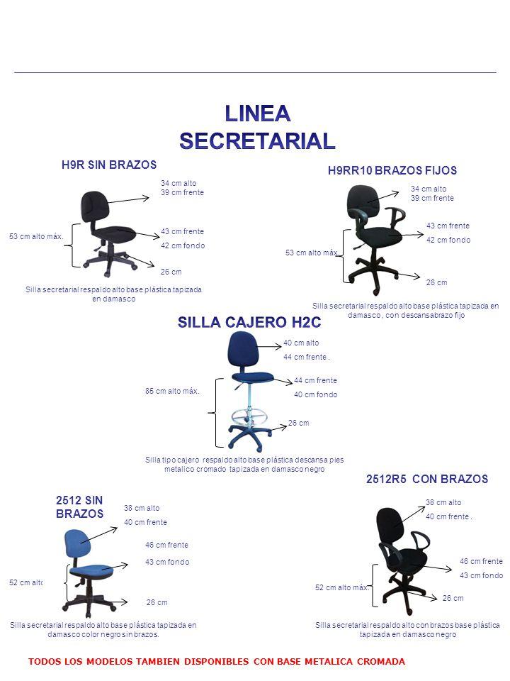 Silla secretarial respaldo alto base plástica tapizada en damasco