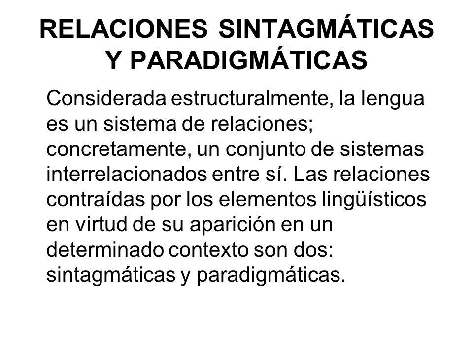 RELACIONES SINTAGMÁTICAS Y PARADIGMÁTICAS