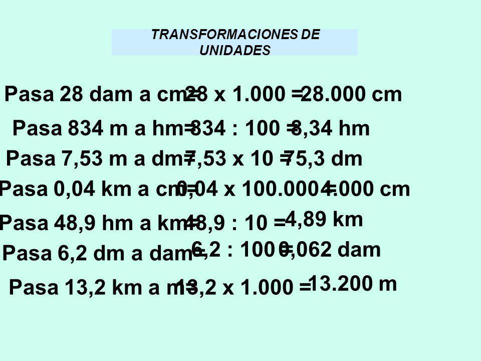 TRANSFORMACIONES DE UNIDADES
