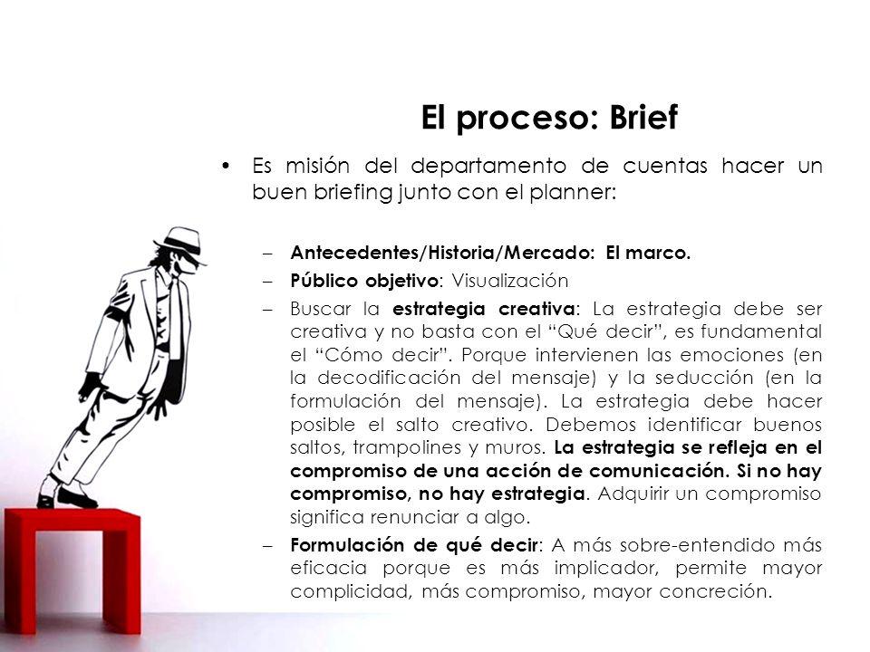 El proceso: Brief Es misión del departamento de cuentas hacer un buen briefing junto con el planner: