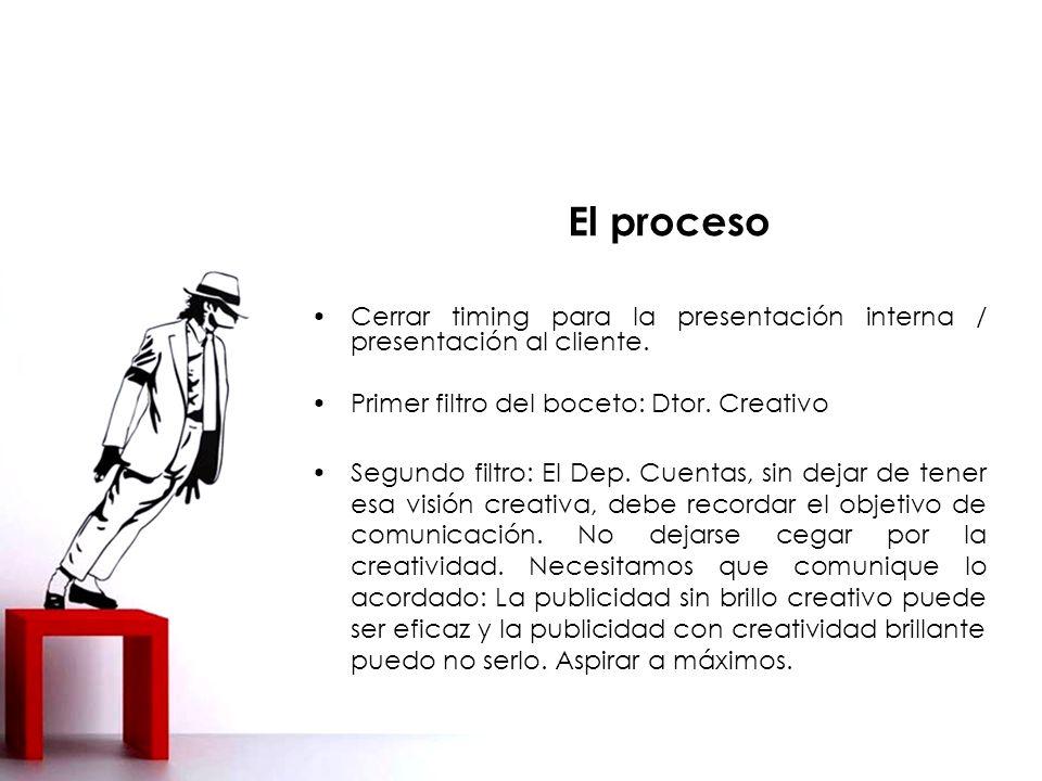 El proceso Cerrar timing para la presentación interna / presentación al cliente. Primer filtro del boceto: Dtor. Creativo.