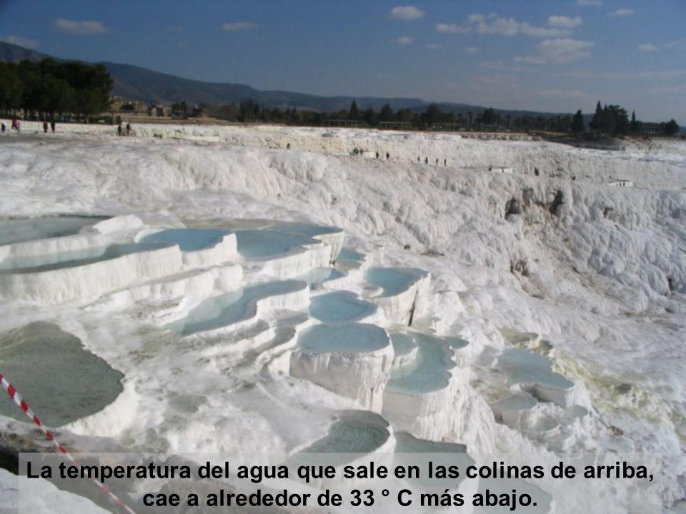 La temperatura del agua que sale en las colinas de arriba, cae a alrededor de 33 ° C más abajo.