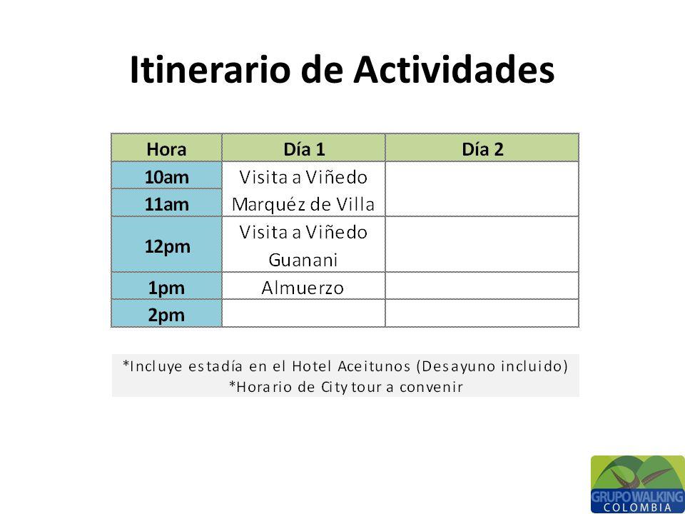 Itinerario de Actividades