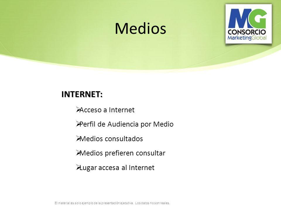 Medios INTERNET: Acceso a Internet Perfil de Audiencia por Medio