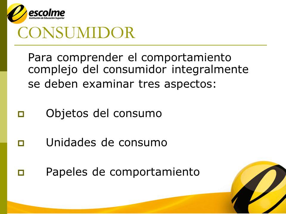 CONSUMIDOR Para comprender el comportamiento complejo del consumidor integralmente. se deben examinar tres aspectos: