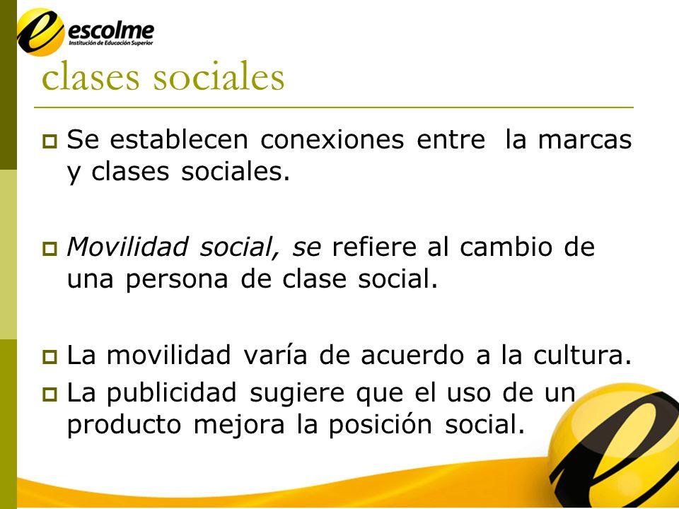 clases sociales Se establecen conexiones entre la marcas y clases sociales. Movilidad social, se refiere al cambio de una persona de clase social.
