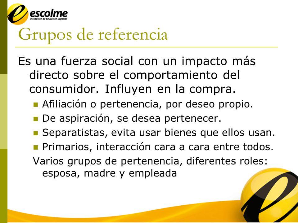 Grupos de referencia Es una fuerza social con un impacto más directo sobre el comportamiento del consumidor. Influyen en la compra.