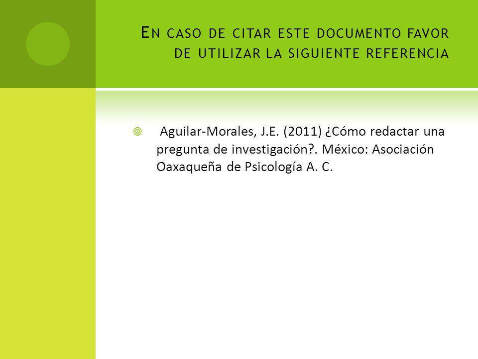 En caso de citar este documento favor de utilizar la siguiente referencia