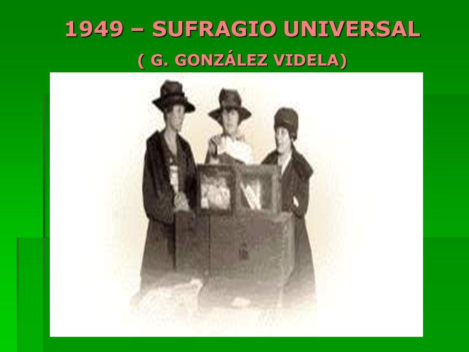 1949 – SUFRAGIO UNIVERSAL ( G. GONZÁLEZ VIDELA)