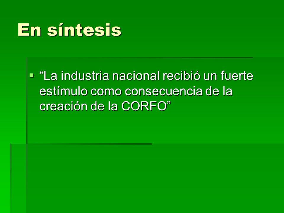 En síntesis La industria nacional recibió un fuerte estímulo como consecuencia de la creación de la CORFO