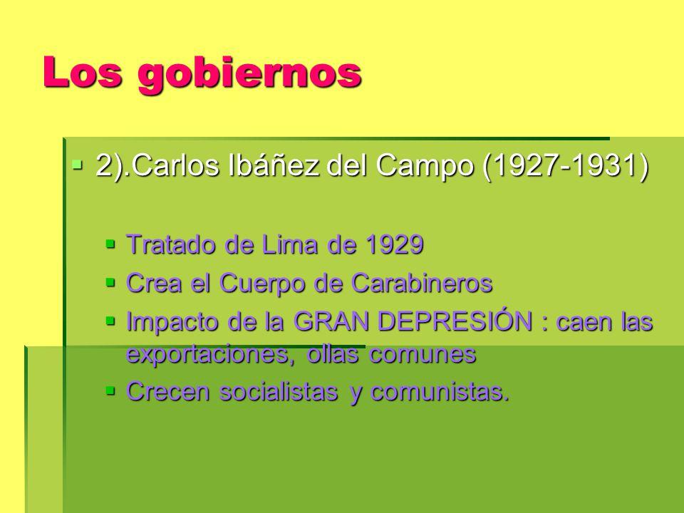 Los gobiernos 2).Carlos Ibáñez del Campo (1927-1931)