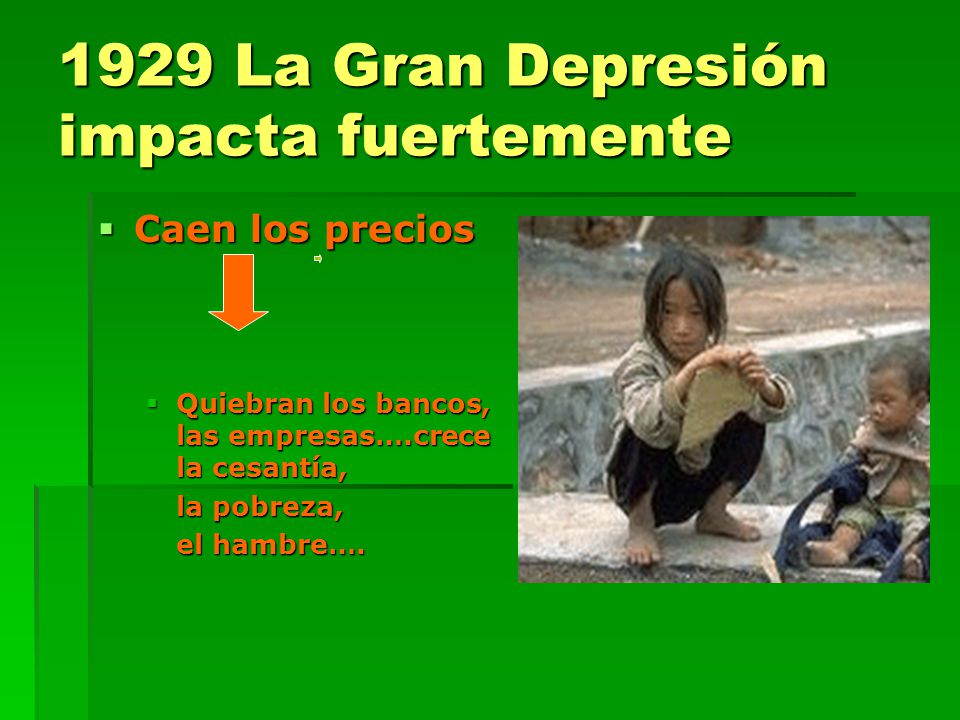 1929 La Gran Depresión impacta fuertemente