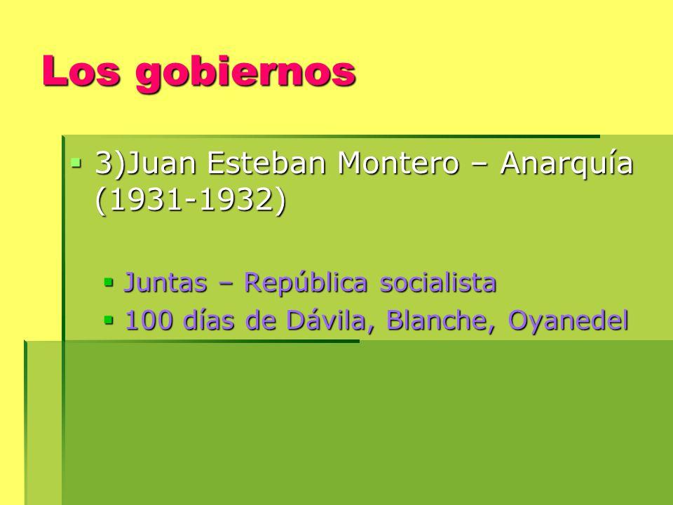 Los gobiernos 3)Juan Esteban Montero – Anarquía (1931-1932)