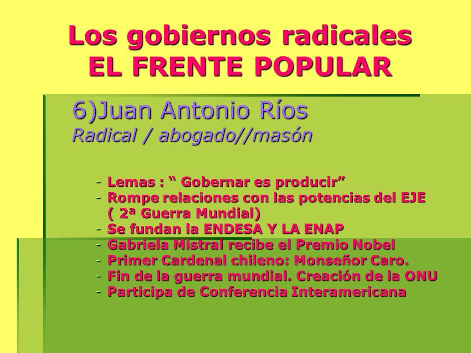 Los gobiernos radicales EL FRENTE POPULAR
