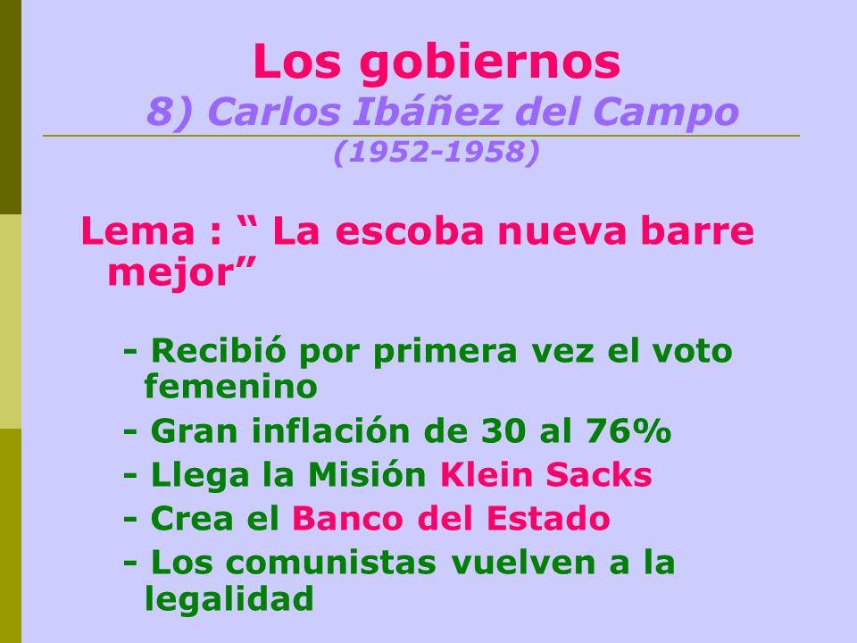 Los gobiernos 8) Carlos Ibáñez del Campo (1952-1958)