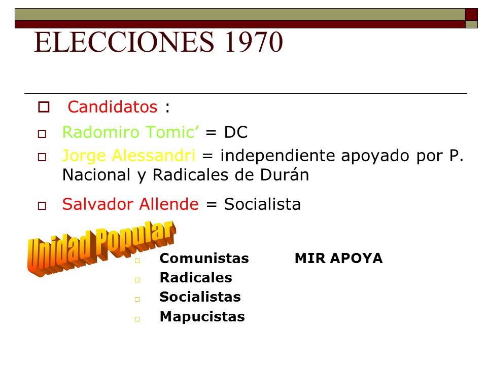 ELECCIONES 1970 Unidad Popular Candidatos : Radomiro Tomic' = DC