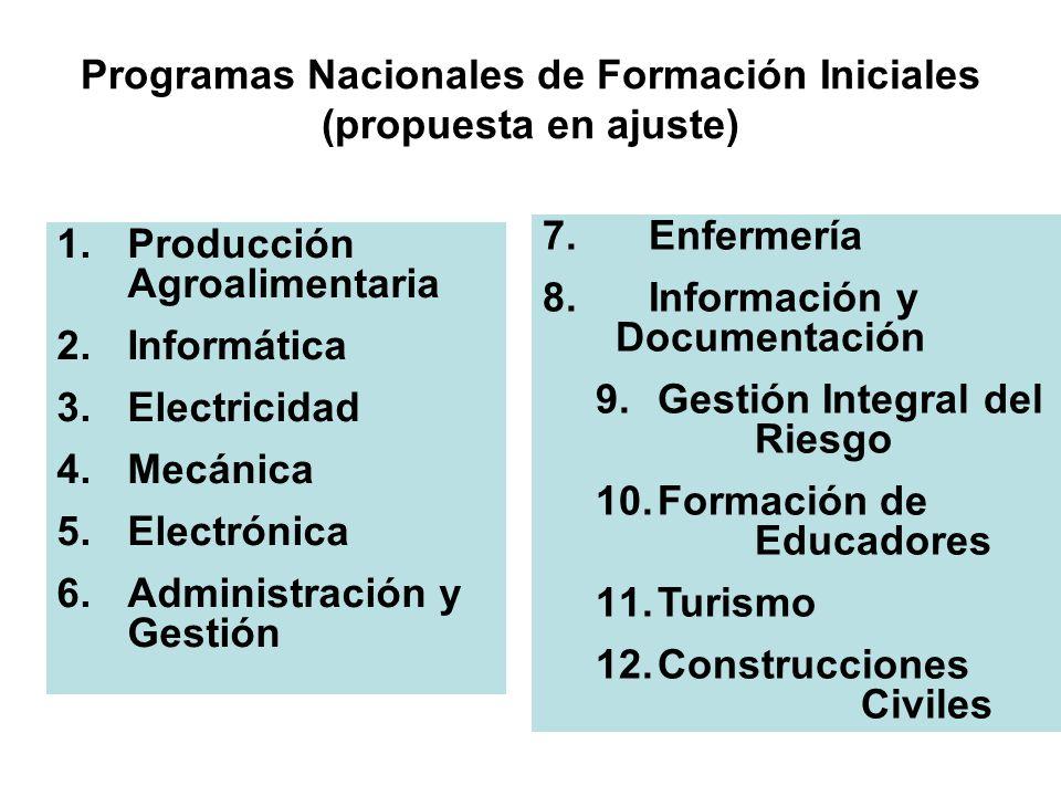 Programas Nacionales de Formación Iniciales (propuesta en ajuste)