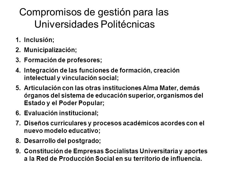 Compromisos de gestión para las Universidades Politécnicas