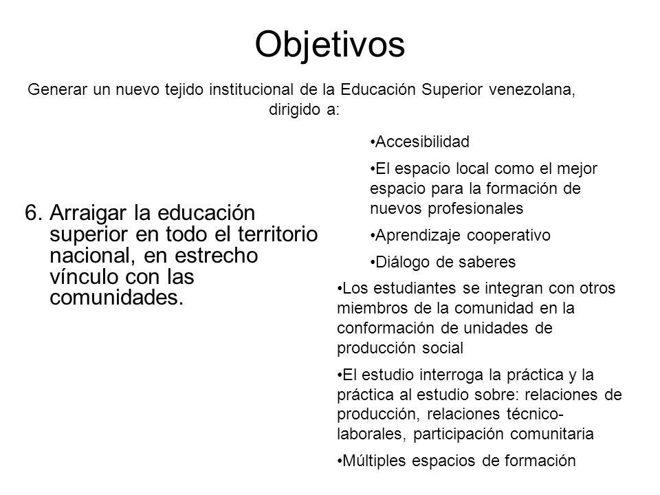 Objetivos Generar un nuevo tejido institucional de la Educación Superior venezolana, dirigido a: Accesibilidad.