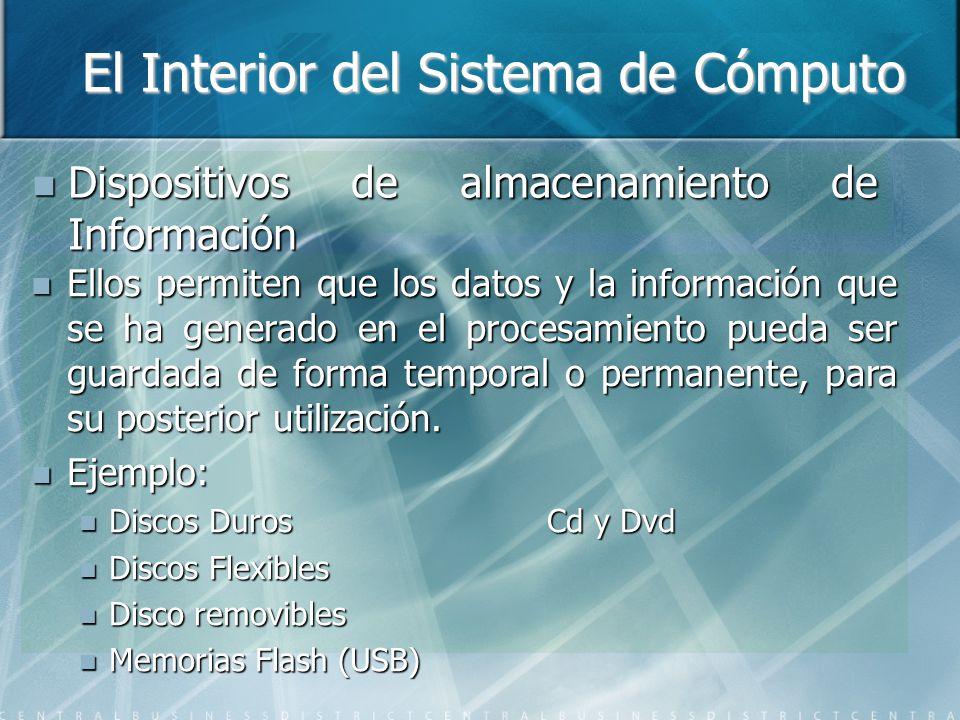 El Interior del Sistema de Cómputo