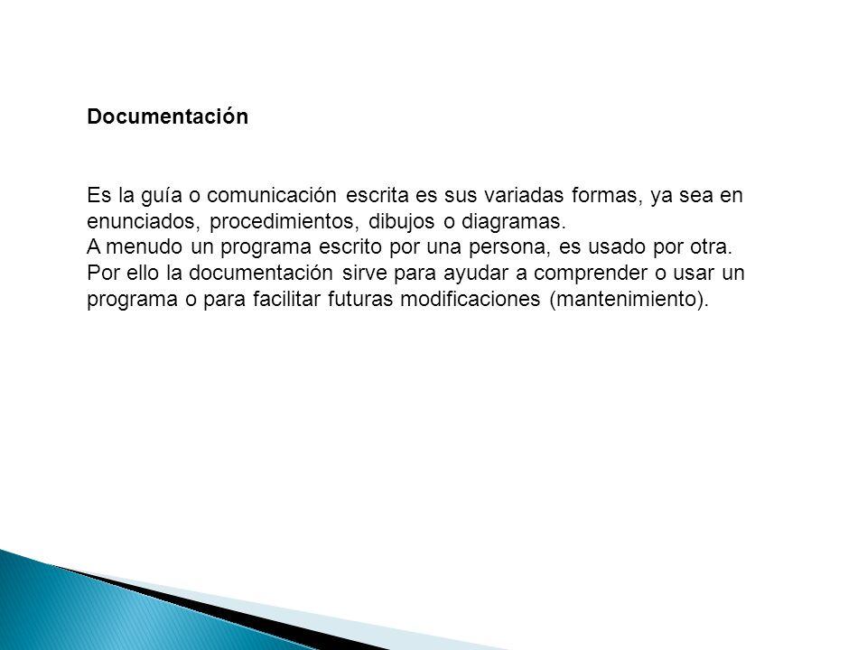 Documentación Es la guía o comunicación escrita es sus variadas formas, ya sea en enunciados, procedimientos, dibujos o diagramas.