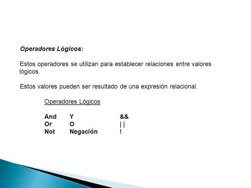 Operadores Lógicos: Estos operadores se utilizan para establecer relaciones entre valores lógicos.