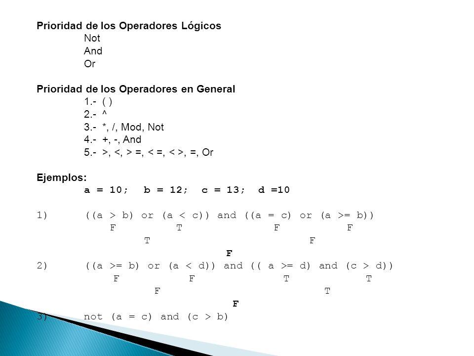Prioridad de los Operadores Lógicos
