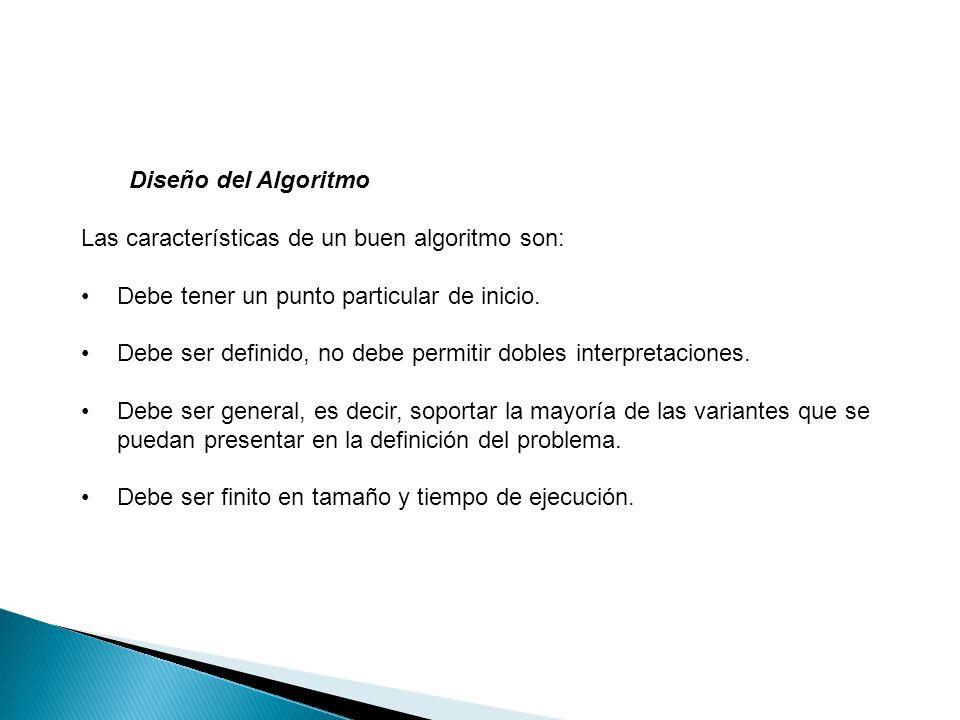 Diseño del Algoritmo Las características de un buen algoritmo son: Debe tener un punto particular de inicio.