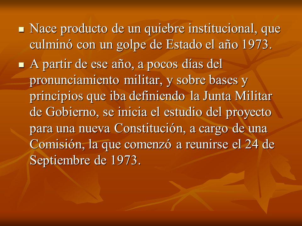 Nace producto de un quiebre institucional, que culminó con un golpe de Estado el año 1973.